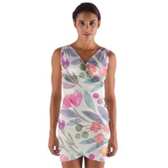 Purple And Pink Cute Floral Pattern Wrap Front Bodycon Dress