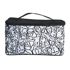 Elio s Shirt Faces In Black Outlines On White Cosmetic Storage Case by PodArtist