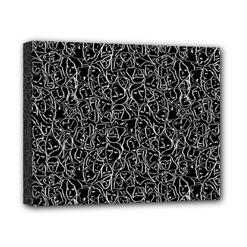 Elio s Shirt Faces In White Outlines On Black Crying Scene Canvas 10  X 8  by PodArtist