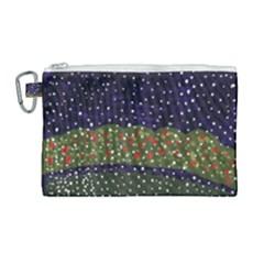 Snowy Roses Canvas Cosmetic Bag (large) by snowwhitegirl
