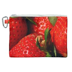 Red Strawberries Canvas Cosmetic Bag (xl) by snowwhitegirl