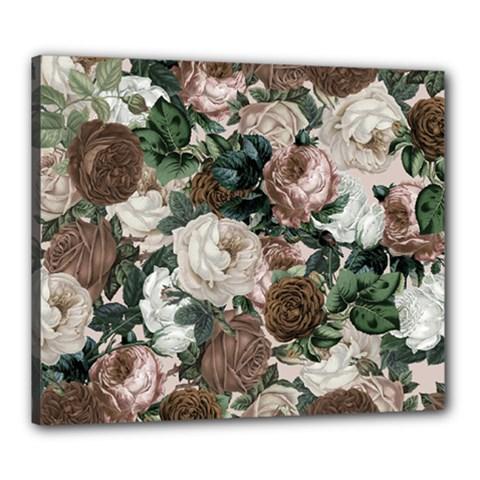 Rose Bushes Brown Canvas 24  X 20  by snowwhitegirl