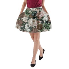 Rose Bushes Brown A Line Pocket Skirt by snowwhitegirl
