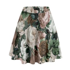 Rose Bushes Brown High Waist Skirt by snowwhitegirl