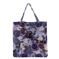 Rose Bushes Blue Grocery Tote Bag by snowwhitegirl