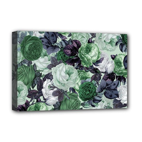 Rose Bushes Green Deluxe Canvas 18  X 12   by snowwhitegirl