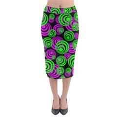 Neon Green And Pink Circles Midi Pencil Skirt by PodArtist