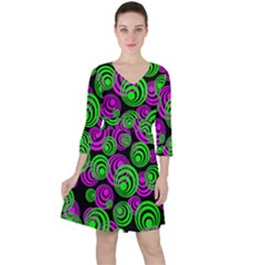 Neon Green And Pink Circles Ruffle Dress