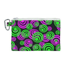 Neon Green And Pink Circles Canvas Cosmetic Bag (medium) by PodArtist