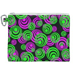 Neon Green And Pink Circles Canvas Cosmetic Bag (xxl) by PodArtist