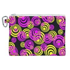 Neon Yellow And Hot Pink Circles Canvas Cosmetic Bag (xl) by PodArtist
