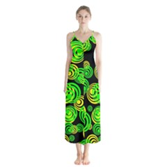 Neon Yellow And Green Circles On Black Button Up Chiffon Maxi Dress