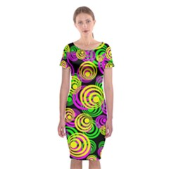 Bright Yellow Pink And Green Neon Circles Classic Short Sleeve Midi Dress by PodArtist