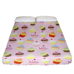Baby Pink Valentines Cup Cakes Fitted Sheet (queen Size) by PodArtist