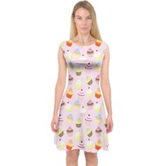 Baby Pink Valentines Cup Cakes Capsleeve Midi Dress