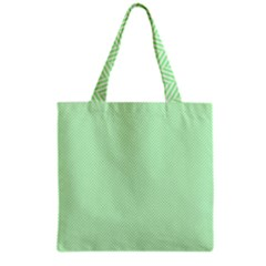 Classic Mint Green & White Herringbone Pattern Grocery Tote Bag by PodArtist