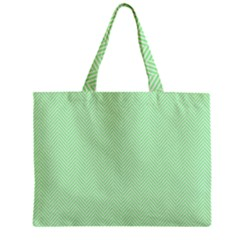 Classic Mint Green & White Herringbone Pattern Mini Tote Bag by PodArtist