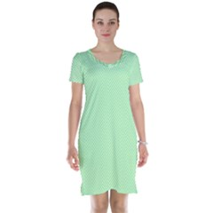 Classic Mint Green & White Herringbone Pattern Short Sleeve Nightdress by PodArtist