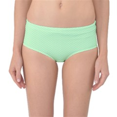 Classic Mint Green & White Herringbone Pattern Mid Waist Bikini Bottoms by PodArtist