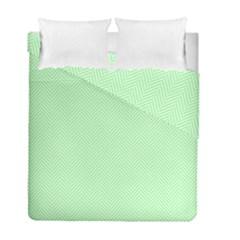 Classic Mint Green & White Herringbone Pattern Duvet Cover Double Side (full/ Double Size) by PodArtist