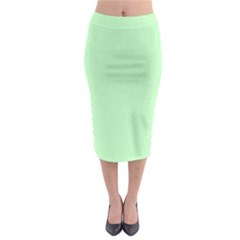 Classic Mint Green & White Herringbone Pattern Midi Pencil Skirt by PodArtist