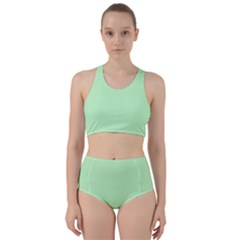 Classic Mint Green & White Herringbone Pattern Racer Back Bikini Set by PodArtist