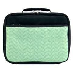 Classic Mint Green & White Herringbone Pattern Lunch Bag by PodArtist