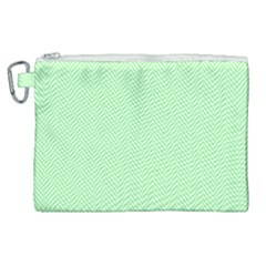 Classic Mint Green & White Herringbone Pattern Canvas Cosmetic Bag (xl) by PodArtist