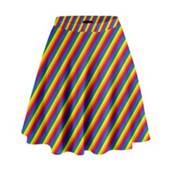 Gay Pride Flag Candy Cane Diagonal Stripe High Waist Skirt by PodArtist