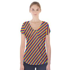 Gay Pride Flag Candy Cane Diagonal Stripe Short Sleeve Front Detail Top by PodArtist