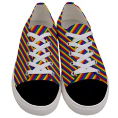 Gay Pride Flag Candy Cane Diagonal Stripe Women s Low Top Canvas Sneakers
