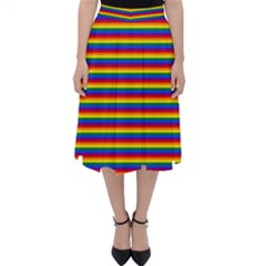 Horizontal Gay Pride Rainbow Flag Pin Stripes Folding Skater Skirt by PodArtist
