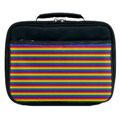 Horizontal Gay Pride Rainbow Flag Pin Stripes Lunch Bag by PodArtist