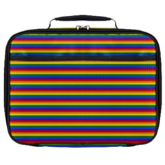Horizontal Gay Pride Rainbow Flag Pin Stripes Full Print Lunch Bag by PodArtist