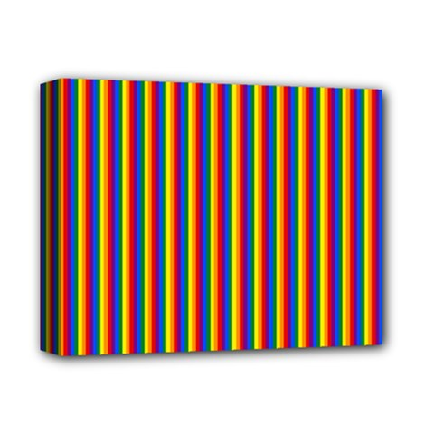 Vertical Gay Pride Rainbow Flag Pin Stripes Deluxe Canvas 14  X 11  by PodArtist
