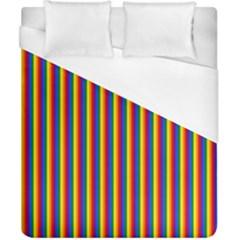 Vertical Gay Pride Rainbow Flag Pin Stripes Duvet Cover (california King Size) by PodArtist