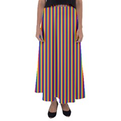 Vertical Gay Pride Rainbow Flag Pin Stripes Flared Maxi Skirt by PodArtist