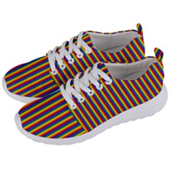 Vertical Gay Pride Rainbow Flag Pin Stripes Men s Lightweight Sports Shoes by PodArtist