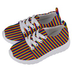 Vertical Gay Pride Rainbow Flag Pin Stripes Kids  Lightweight Sports Shoes by PodArtist