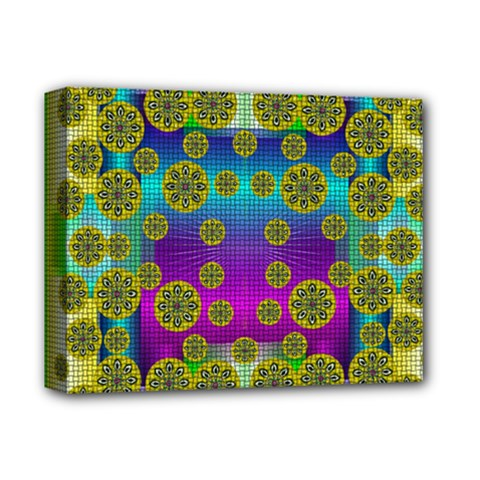 Celtic Mosaic With Wonderful Flowers Deluxe Canvas 14  X 11  by pepitasart