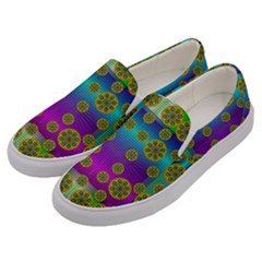 Celtic Mosaic With Wonderful Flowers Men s Canvas Slip Ons by pepitasart