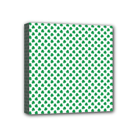 Green Shamrock Clover On White St  Patrick s Day Mini Canvas 4  X 4  by PodArtist