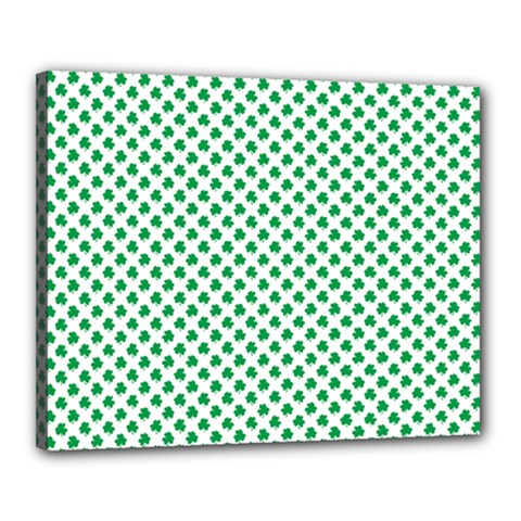 Green Shamrock Clover On White St  Patrick s Day Canvas 20  X 16  by PodArtist