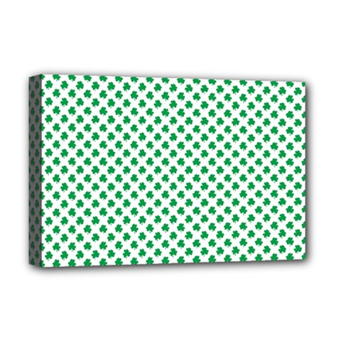 Green Shamrock Clover On White St  Patrick s Day Deluxe Canvas 18  X 12   by PodArtist