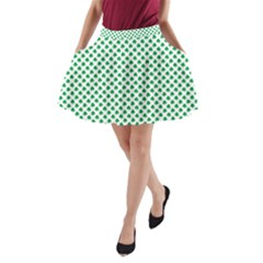 Green Shamrock Clover On White St  Patrick s Day A Line Pocket Skirt by PodArtist
