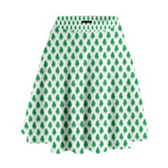 Green Shamrock Clover On White St  Patrick s Day High Waist Skirt by PodArtist