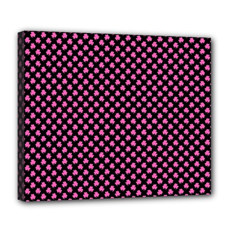 Small Hot Pink Irish Shamrock Clover On Black Deluxe Canvas 24  X 20   by PodArtist