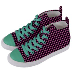 Small Hot Pink Irish Shamrock Clover On Black Women s Mid Top Canvas Sneakers by PodArtist