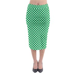 White Shamrocks On Green St  Patrick s Day Ireland Midi Pencil Skirt by PodArtist