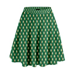 Irish Flag Green White Orange On Green St  Patrick s Day Ireland High Waist Skirt by PodArtist
